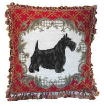 Needlepoint Fancy Fringed Scottish Terrier Pillow