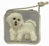 Needlepoint Bichon Frise Coin Purse