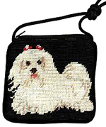 Needlepoint Maltese Coin Purse