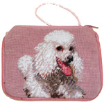 Needlepoint White Poodle Coin Purse