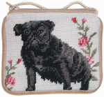 Needlepoint Black Pug Coin Purse