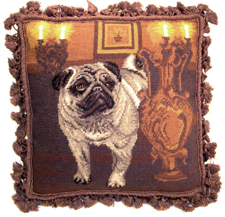 Fancy Fringed Needlepoint Pug Pillow