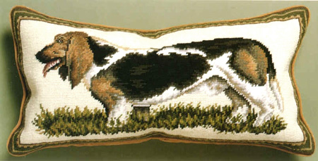Basset hound pillow elegant petit point and needlepoint basset hound pillows - Petit basset hound angers ...