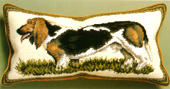 Petit Point Basset Hound Pillow