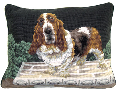 "A beautiful needlepoint Basset Hound Pillow makes a lovely accent to your decor!  A ""must have"" home accessory for Basset Hound lovers!"