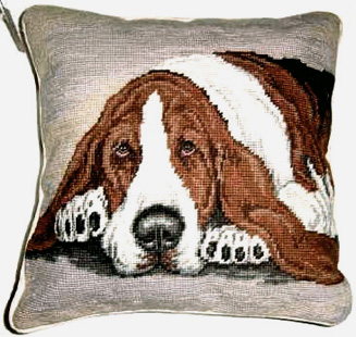 Basset Hound Pillow and Other Elegant Needlepoint Basset Hound Gifts
