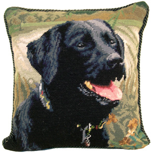 "An elegant needlepoint Black Labrador Retriever pillow makes a beautiful accent to your decor!  A ""must have"" home accessory for Black Lab lovers!"