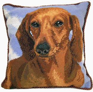 "An elegant needlepoint Red Dachshund pillow makes a beautiful accent to your decor!  A ""must have"" home accessory for dog lovers!"