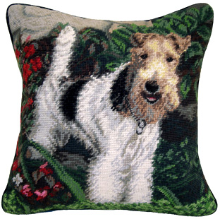 "An elegant needlepoint Wire Fox Terrier pillow makes a beautiful accent to your decor!  A ""must have"" home accessory for dog lovers!"