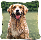 Needlepoint Golden Retriever Pillow (1)