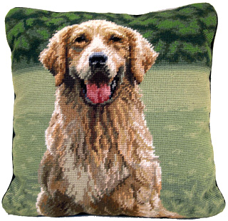 "An elegant Needlepoint Golden Retriever Pillow makes a beautiful accent to your decor!  A ""must have"" home accessory for dog lovers!"