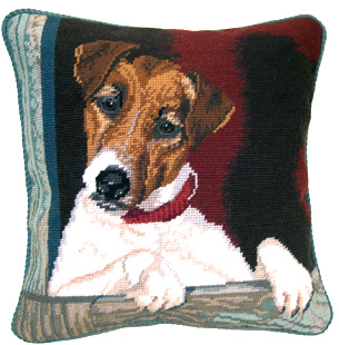 "An elegant needlepoint Jack Russell Terrier pillow makes a beautiful accent to your decor!  A ""must have"" home accessory for Jack Russell lovers!"
