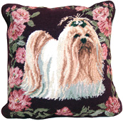 Needlepoint Lhasa Apso Pillow