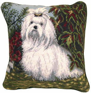 "An elegant needlepoint Maltese pillow makes a beautiful accent to your decor!  A ""must have"" home accessory for Maltese dog lovers!"