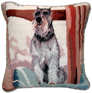 "A lovely needlepoint Schnauzer pillow makes a beautiful accent to your decor!  A ""must have"" home accessory for Schnauzer lovers!"