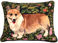 Needlepoint Welsh Corgi Pillow