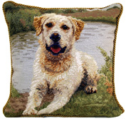 Needlepoint Yellow Labrador Retriever Pillow (1)