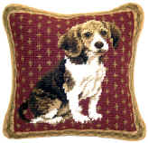 "This beautiful small 10"" needlepoint Beagle pillow is a ""must have"" home accent for dog lovers!  Many other Beagle gifts available at Kissed By Dogs!"