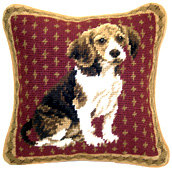 Small Needlepoint Beagle Pillow