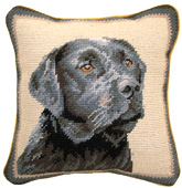 Small Needlepoint Black Labrador Retriever Pillow
