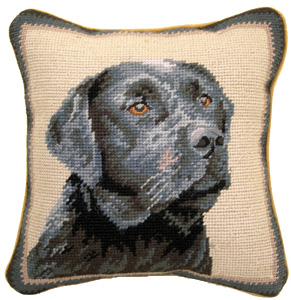 "This beautiful small 10"" needlepoint Black Labrador Retriever pillow is a ""must have"" home accent for dog lovers!  Many other Black Lab gifts available at Kissed By Dogs!"