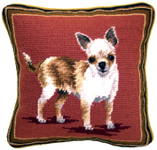 Small Needlepoint Chihuahua Pillow (2)