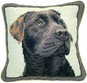 Small Needlepoint Chocolate Labrador Retriever Pillow