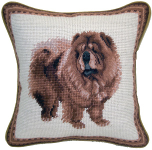 "This beautiful small 10"" needlepoint Chow Chow pillow is a ""must have"" home accent for dog lovers!  Many other chow gifts available at Kissed By Dogs!"