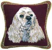 Small Needlepoint White Cocker Spaniel Pillow