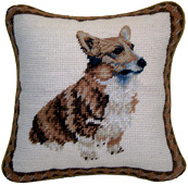 Small Needlepoint Welsh Corgi Pillow (1)