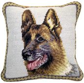 Small Needlepoint German Shepherd Pillow