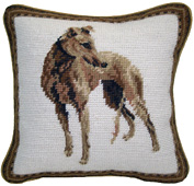 Small Needlepoint Greyhound Pillow (1)