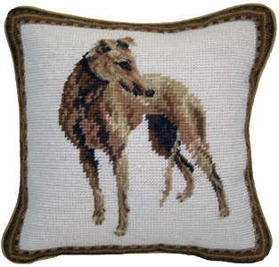 "Small 10"" Needlepoint Greyhound Pillow for Corgi Lovers!"