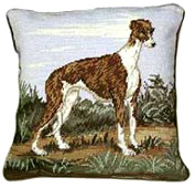 Small Needlepoint Greyhound Pillow (2)