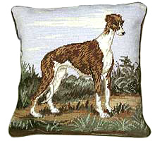 "A small 10"" Needlepoint Greyhound Pillow is a great dog gift for Greyhound lovers."