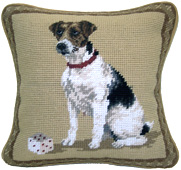 Small Needlepoint Jack Russell Terrier Pillow