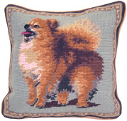 Small Needlepoint Pomeranian Pillow