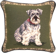 Small Needlepoint Schnauzer Pillow