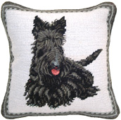 Small Needlepoint Scottie Pillow