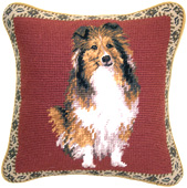 Small Needlepoint Sheltie Pillow