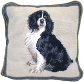 Small Needlepoint Springer Spaniel Pillow