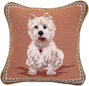 Small Needlepoint Westie Pillow