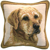 Small Needlepoint Yellow Labrador Retriever Pillow