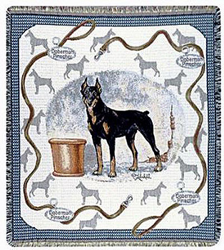 A Beautiful Doberman Pinscher Tapestry Throw or afghan Makes the Perfect Dog Lover Gift!