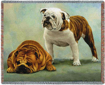 This beautiful Bulldog Throw or Tapestry makes the perfect bulldog gift!  Many other bulldog gifts also available.